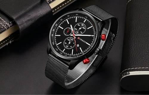 Relógio Masculino Curren 8227 Luxo Analógico Preto