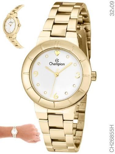 Relógio Champion Dourado Feminino Ch26855h Promoção