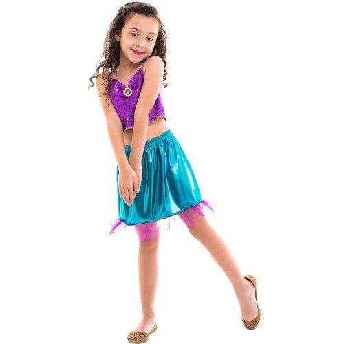 Fantasia Infantil Princesa Ariel Pequena Sereia Cropped Saia