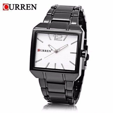 Relógio Masculino Quadrado Curren 8132 Preto Fundo Branco