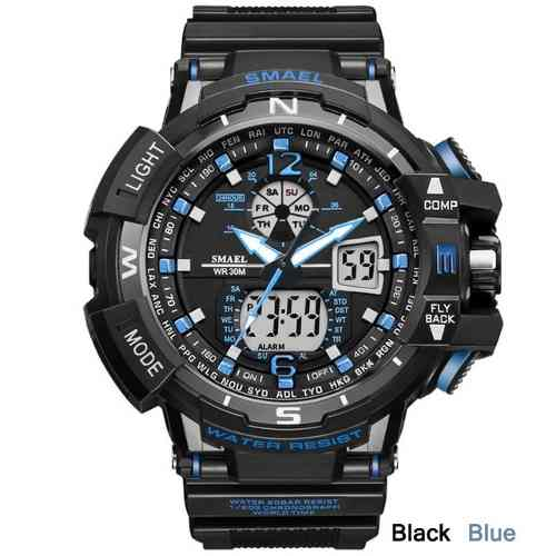 Relógio Masculino Militar G-shock Smael Ws1376 Preto E Azul