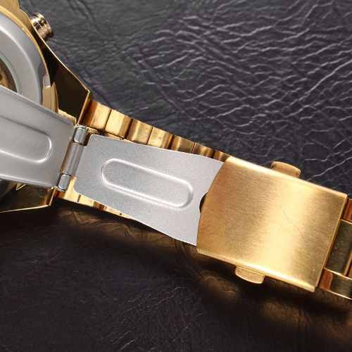 Relógio Importado Winner Skeleton Automático Ouro Dourado