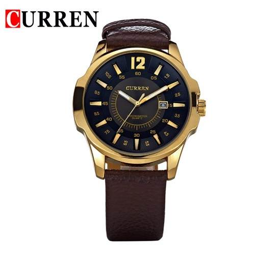 Relógio Pulso Curren 8123 Esportivo Quartz Analógico Dourado