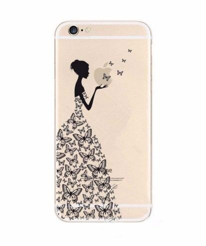 Capinha Case Capa Acrílico Iphone 6 Mulher Vestido Borboleta