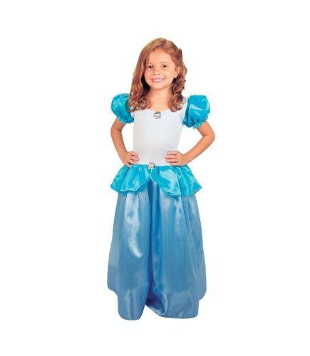 Vestido Festa Fantasia Princesa Cinderela Infantil