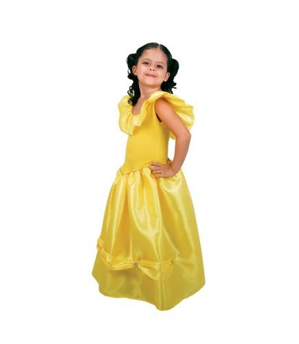 Linda Fantasia Vestido Princesa Bela E Fera Infantil Festa