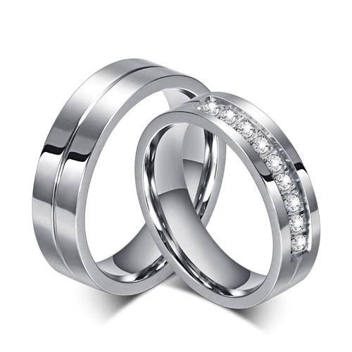 1 Unidade Aliança De Namoro Pedra De Aço Inox Não É O Par