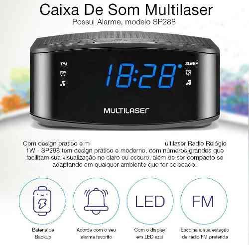 Radio Relógio Multilaser C/ Função Beckup Digital Sp288