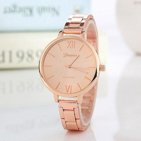 Relógio Geneva Dourado Luxo Feminino Aço Rosê Gold