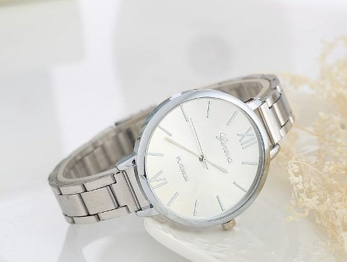 Relógio Geneva Luxo Feminino Aço Prateado