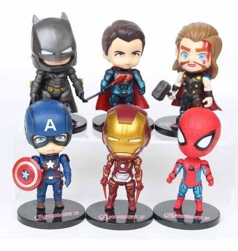 Coleção 6 Miniaturas - Vingadores & Liga Da Justiça