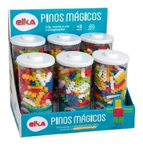 Pinos Magicos 200 Peças Blocos De Montar Elka