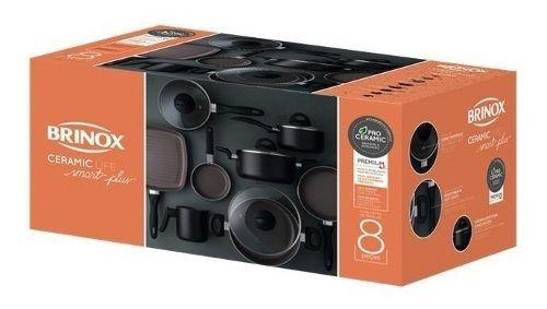 Conjunto De Panelas 8 Pçs Ceramic Smart Plus Preta - Brinox