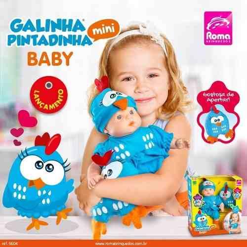Boneca Galinha Pintadinha Mini Baby Com Travesseiro - Roma