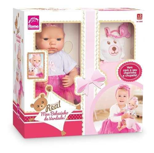 Boneca Bebezinho Real Newborn - 34cm Menina - Roma Brinquedo