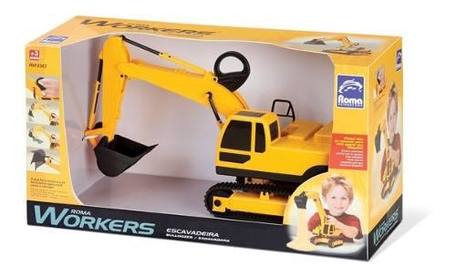 Roma Workers Trator Escavadeira - Roma Brinquedos