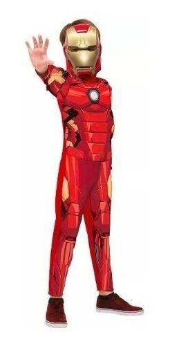 Fantasia Homem De Ferro Infantil Longo Clássico C/ Máscara