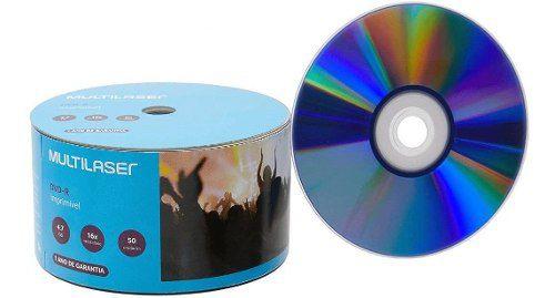 Dvd-r Multilaser Printable 4,7gb 16x 120 Min. C/50 Unidade