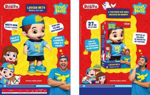 Boneco Luccas Neto 27cm 14 Frases + Boliche Original Rosita