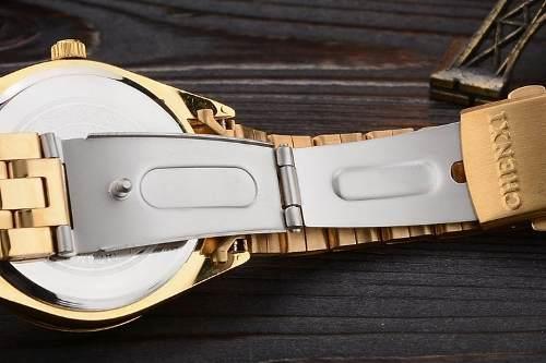Relógio Masculino Quartzo Chenxi Luxo Aço Inoxidável Dourado