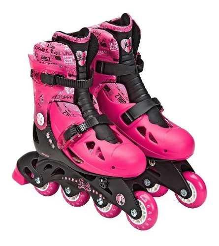 Patins Barbie Rosa Ajustável Do 33 A 36 C/ Kit De Segurança