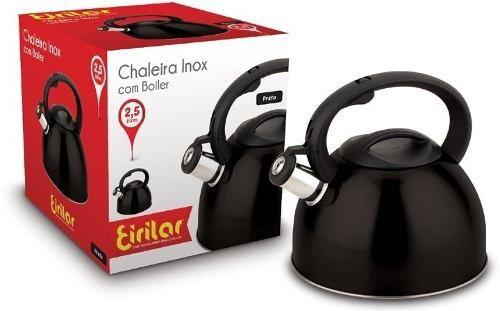 Chaleira Inox Preta/black Eirilar Com Apito 2,5 L