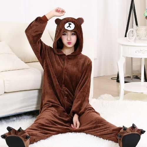 Pijama Kigurumi Cosplay Fantasia Macacão Urso Adulto