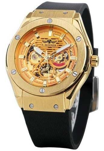 Relógio Masculino Dourado Winner Esqueleto 389 Mecânico Ouro
