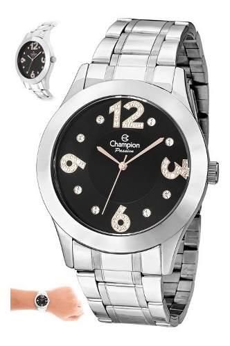 Relógio Champion Feminino Prata E Preto Cn29178t