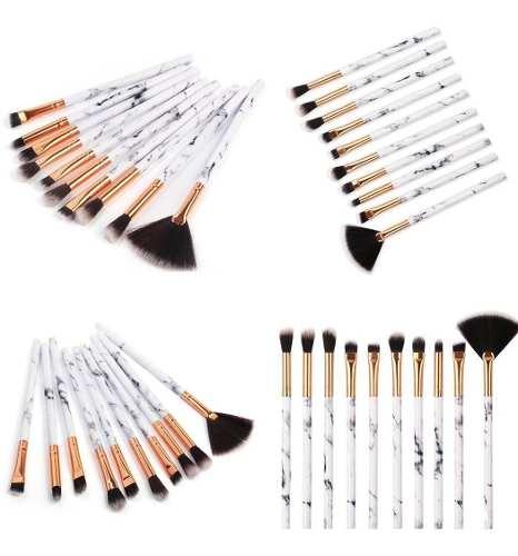 Pincéis Kit Pincel C/ 10 Pinceis Marmore Pincel Makeup Maquiagem