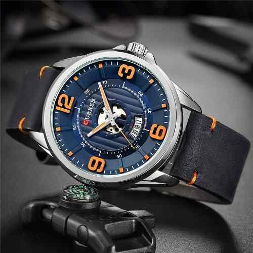 Relógio Curren 8305 Original De Luxo Com Calendário De Couro