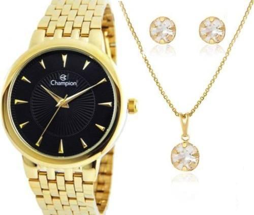 Relógio Champion Feminino Analógico Cn20515k + Colar E Brincos