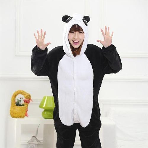 Pijama Kigurumi Cosplay Fantasia Macacão Adulto Panda Preto