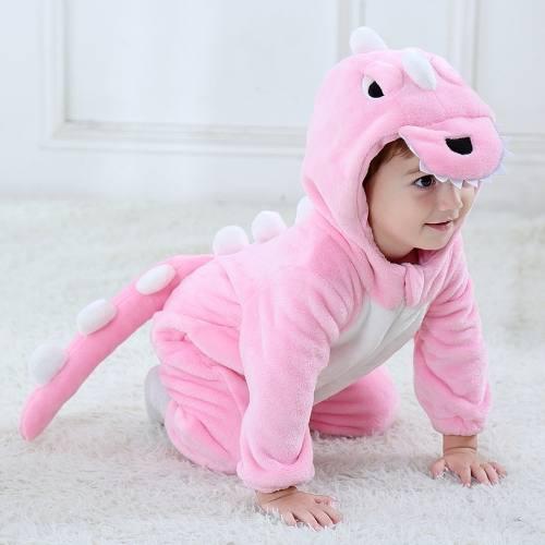 Macacão Pijama Infantil Criança Pelúcia Dinossauro Rosa