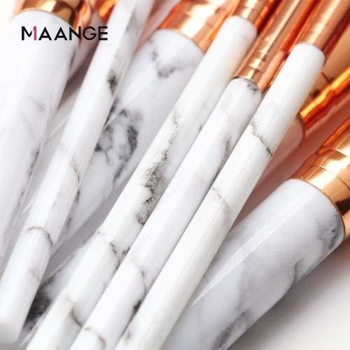 Pincéis Maquiagem Kit C/ 10 Pinceis Marmore Pincel Makeup