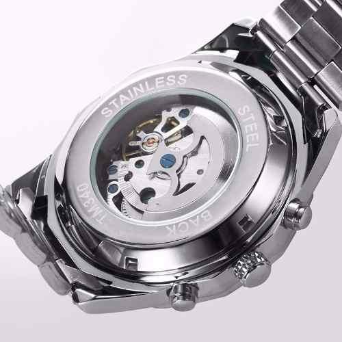 Relógio Masculino Winner Skeleton Automático Tm340b Preto