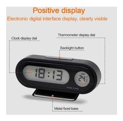 Termômetro Relógio Carro Automotivo Lcd Digital Top