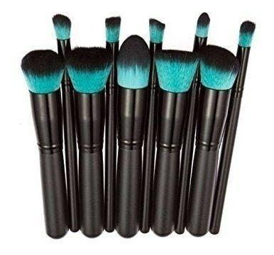 Kit Pinceis Maquiagem Kabuki Precisao 10 Pcs Verde-água