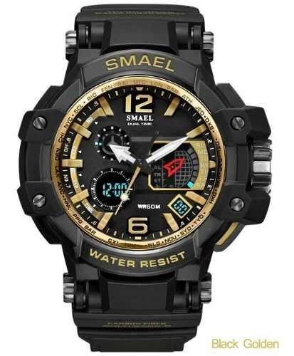 Relógio Masculino Gs Preto Dourado Digital Militar Promoção SMAEL 1509 Preto