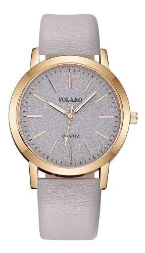 Relógio Pulseira De Couro Branco Feminino Yolako Luxo