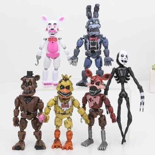 Kit 6 Bonecos Five Nights At Freddy´s Articulados + Bolsa Animatronics