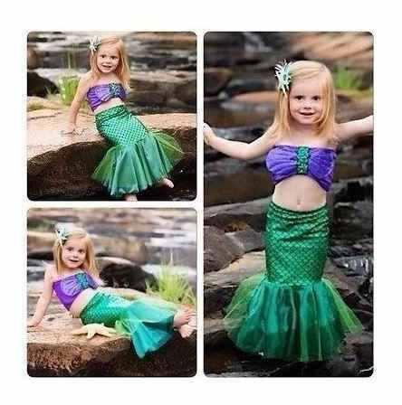 Fantasia Pequena Sereia Princesa Ariel Infantil Roupa Criança