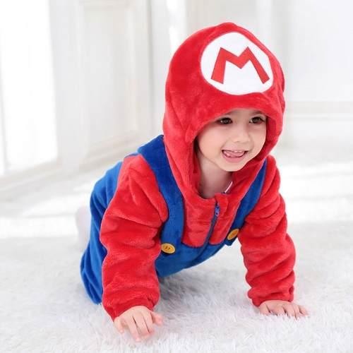 Macacão Pijama Infantil Criança Pelúcia Super Mario Bros