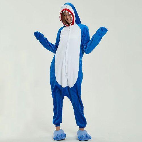 Pijama Kigurumi Cosplay Fantasia Tubarão Shark Adulto