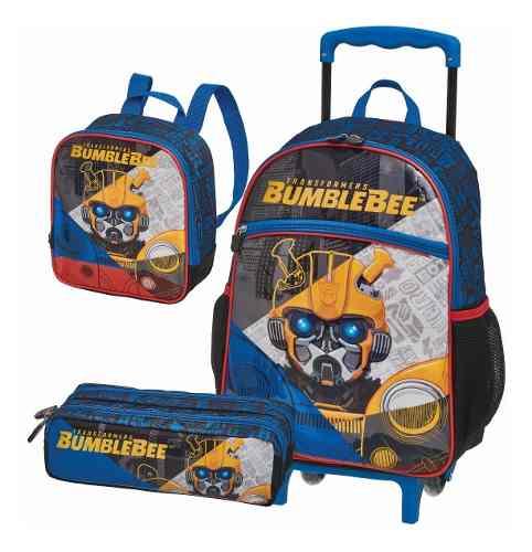 Kit Mochila Rodinha Lancheira Estojo Transformers Bumblebee