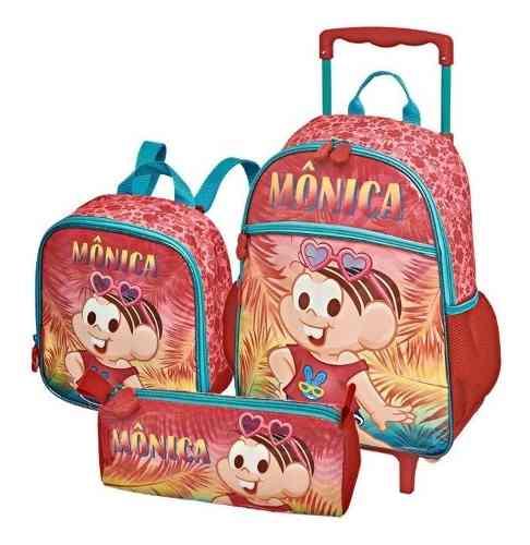 Mochila Turma Da Monica Verão Kit Lancheira E Estojo Escolar