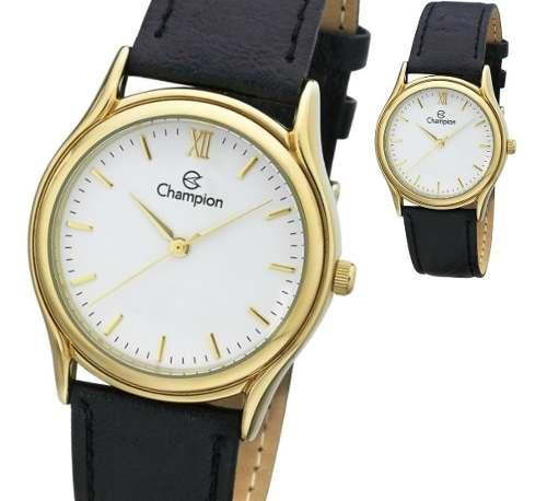 Relógio Champion Feminino Dourado Couro Ch22297m Original