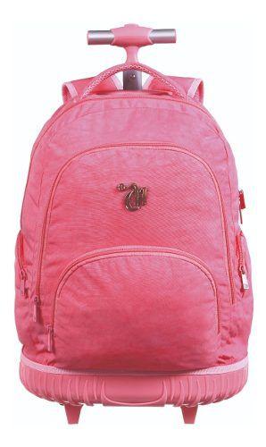 Mochila Bolsa Capricho Crinkle Pink Rodinha Universitária