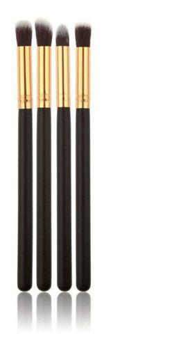 Kit 4 Pincéis Maquiagem Profissional Preto Dourado Sombra