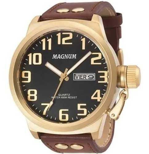 Relógio Magnum Masculino Couro Marrom OriginalProva D água